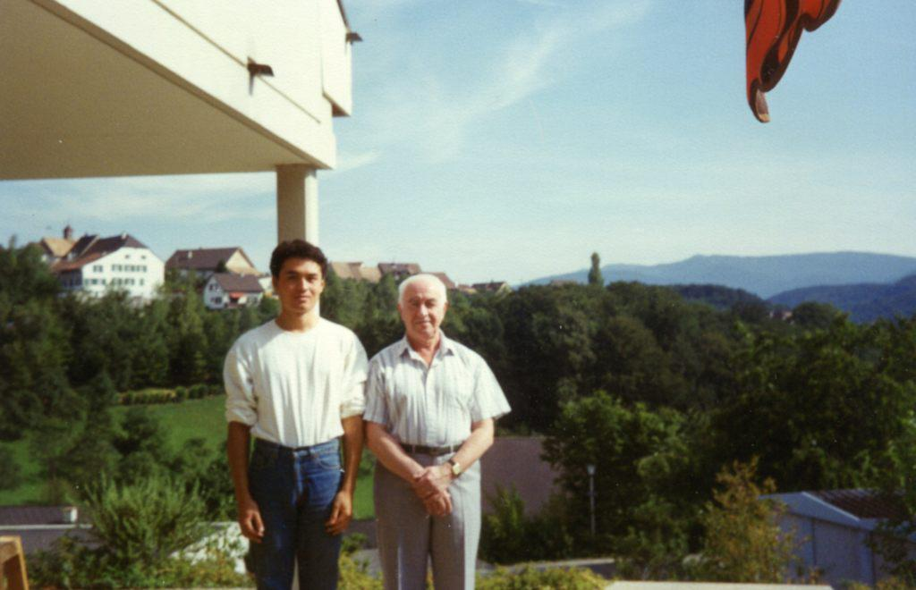 Rudolf Barshai with the son Takeshi at his home in   Switzerland .