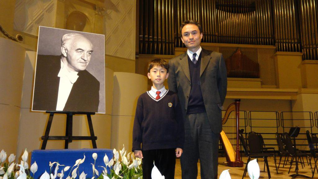 """Takeshi and Ruichi Soda, son and grandson of Rudolf   Barshai. Tchaikovsky Concert hall, Moscow. After a   Concert """"Tribute to Rudolf Barshai"""". November 5 2011"""