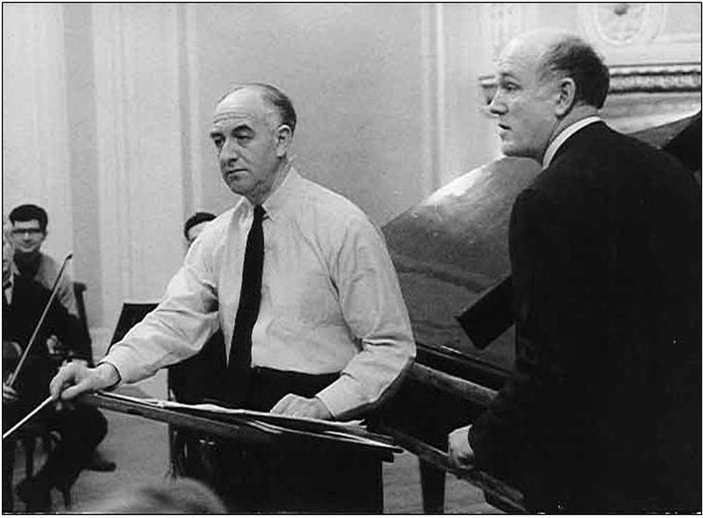Rudolf Barshai and Sviatoslav Richter during rehearsal   for Moscow Chamber Orchestra's 1000's performance,   1967