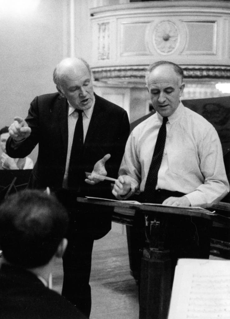 Rehearsal with Sviatoslav Richter. The Grand hall of   Moscow conservatory. 1967