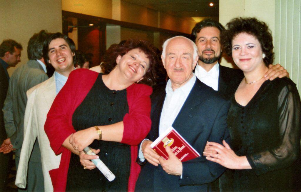 "Vsevolod Grivnov (tenor), Lubica Rybarska (soprano), Rudolf Barshai, Francesco Ellero d' Artegna (bass), Violetta Urmana (mezzo-soprano) after the ""Requem"" by G. Verdi. Berlin, ""Concert for Peace"" to the Memory of the Victims of the World War II, 1994"